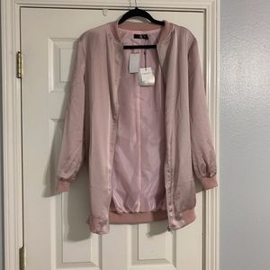 MissGuided Pink Satin Jacket